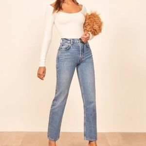 Reformation Cynthia high rise straight jeans 26